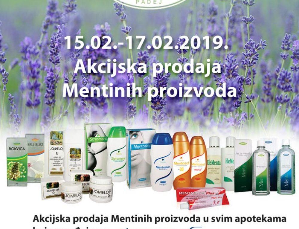 Akcijska prodaja Mentinih proizvoda 15.02 – 17.02.2019